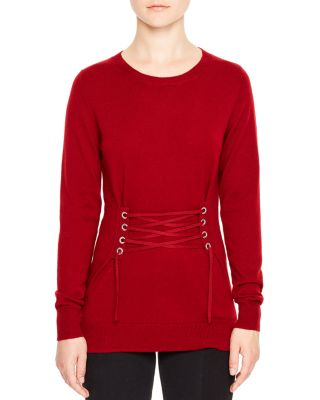 Sandro Robine Lace-up Sweater In Garnet