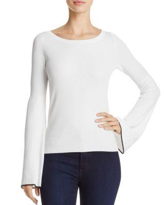 Theory Tipped Bell Sleeve Sweater In White