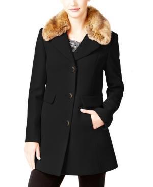 Kate Spade New York Faux-fur-collar Wool-blend Peacoat In Black