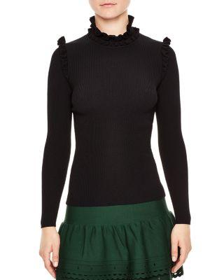 Sandro Ruffle Trim Turtleneck Sweater In Black
