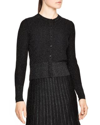 Sandro Nancy Cropped Button-up Cardigan In Multi