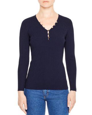 Sandro Olga V-neck Sweater In Navy Blue