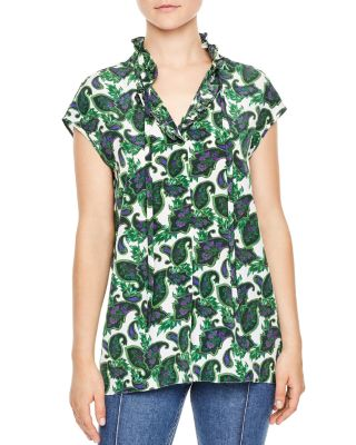 Sandro Paisely Print Silk Blouse In Green