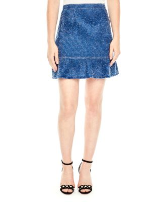 Sandro Glenn Flutter-hem Tweed Skirt In Azure Blue