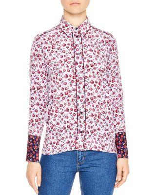 Sandro Lolita Floral-print Silk Shirt In Mauve
