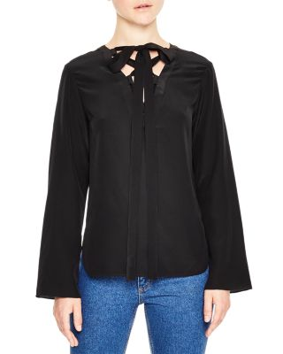 Sandro Cleo Lace-up Silk Top In Black