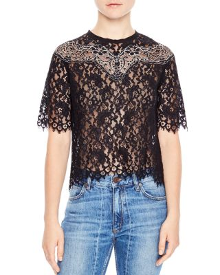 Sandro Laslo Lace Cropped Top In Black