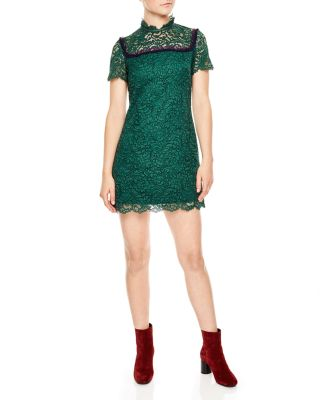 Sandro Contrast Ruffle Trim Lace Dress In Moss Green