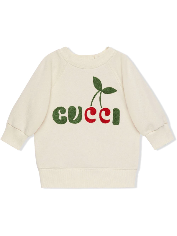 Gucci Babies' Embroidered Cherry Logo Sweatshirt In White
