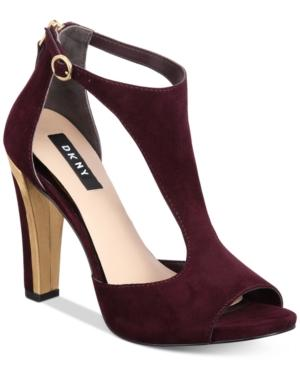 Dkny Colby T-strap Sandals, Created For Macy's In Burgundy