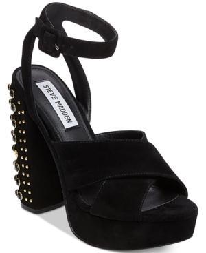 Steve Madden Women's Jodi Two-piece Studded Heels In Black Multi