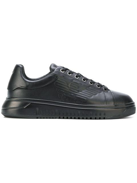 Emporio Armani Eagle Logo Sneakers In Black