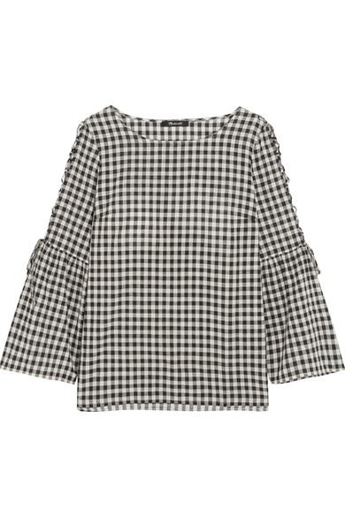 Madewell Tie-detailed Gingham Cotton Top In Black