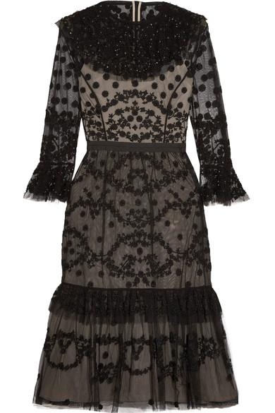 Needle & Thread Shadow Embellished Lace Dress In Black