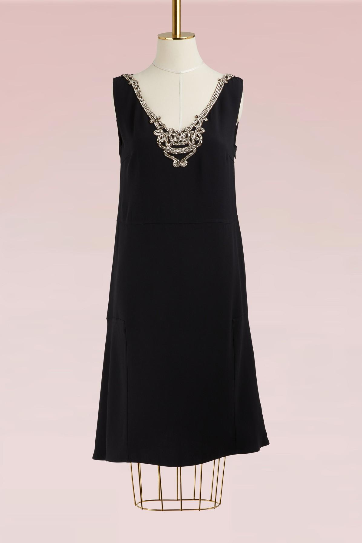 Prada Jewelry Collar Dress In Black