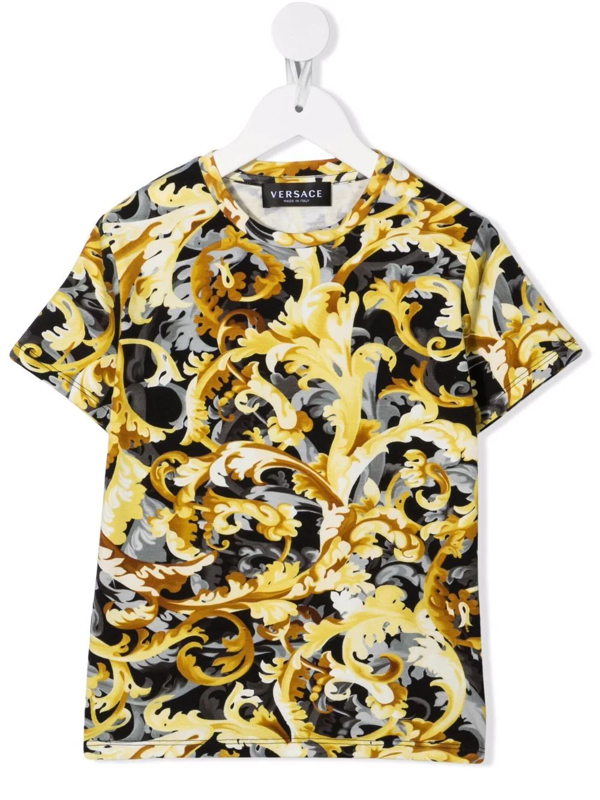 Versace Babies' Baroccoflage Stretch Cotton T-shirt In Black Gold