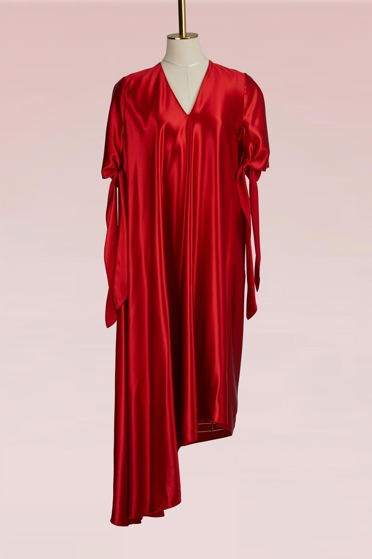 Maison Margiela Midi-length Fluid Dress In Flame