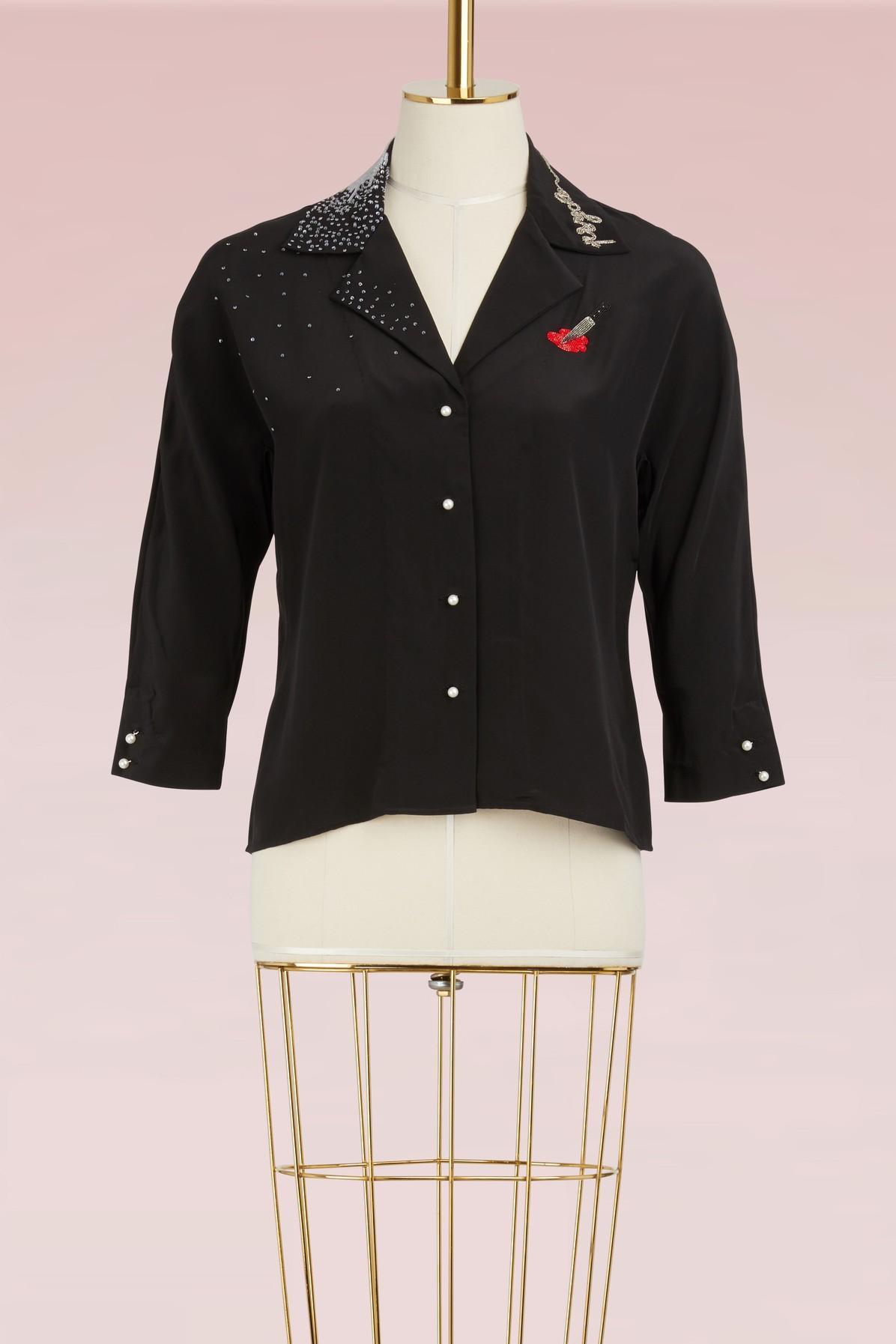 Olympia Le-tan Miriam Psycho Jacket In Black