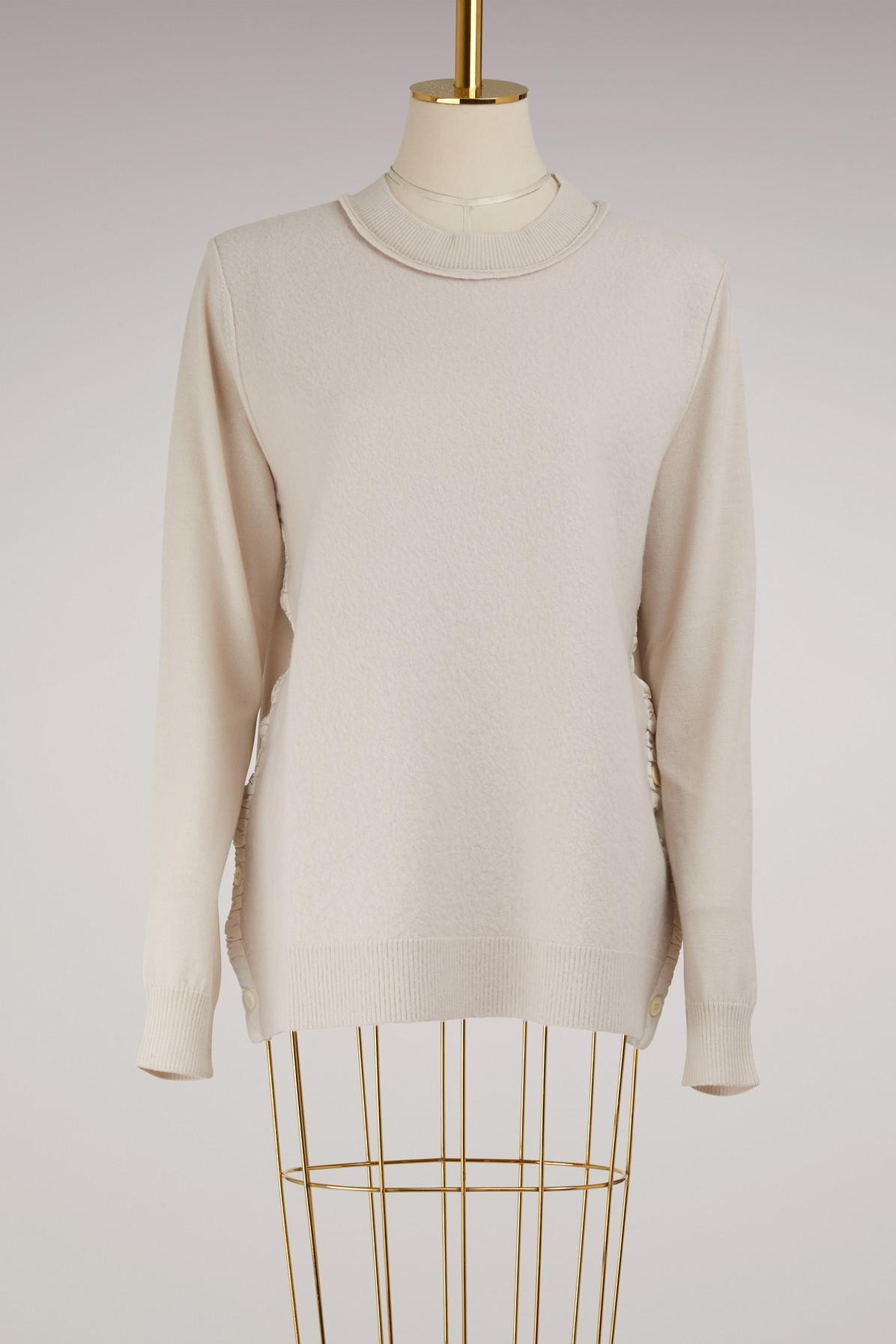 Maison Margiela Wool Sweater With Buttons In Beige