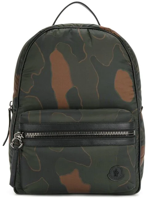 Moncler New George Leather-trimmed Camouflage-print Shell Backpack In Dark Green