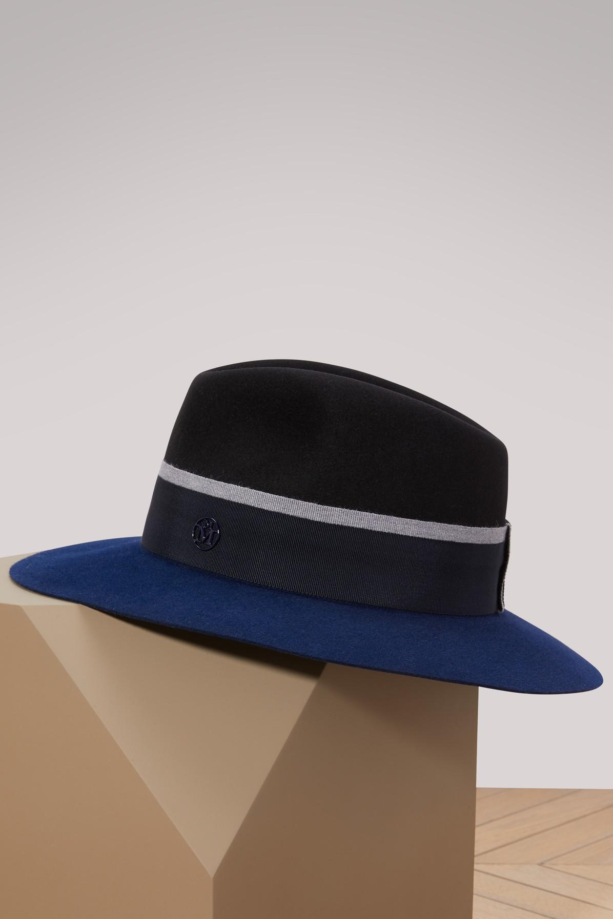 Maison Michel Rico Fedora In Black Navy