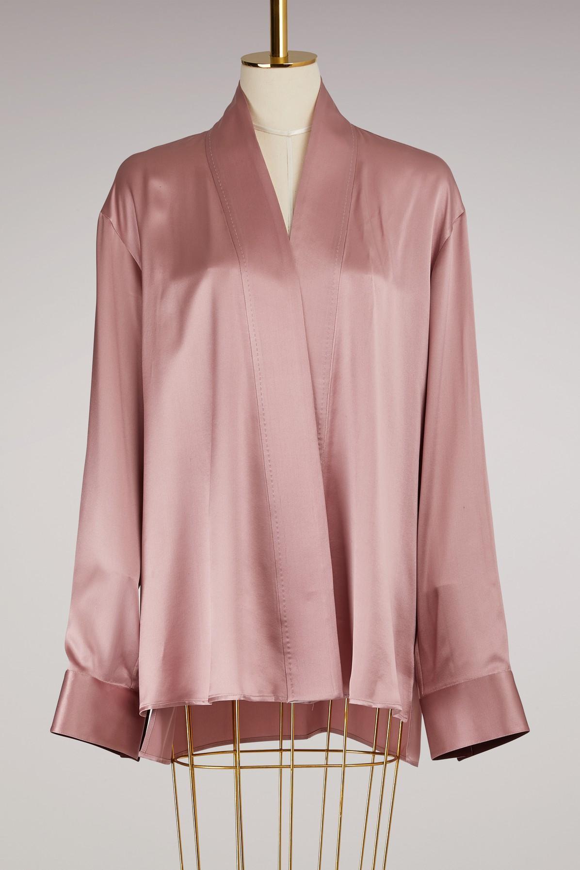 Haider Ackermann Silk Kimono Shirt In Rose/white/buthan
