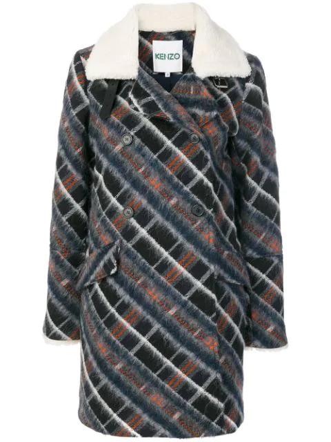 Kenzo Wool Coat With Fur Collar In Orange