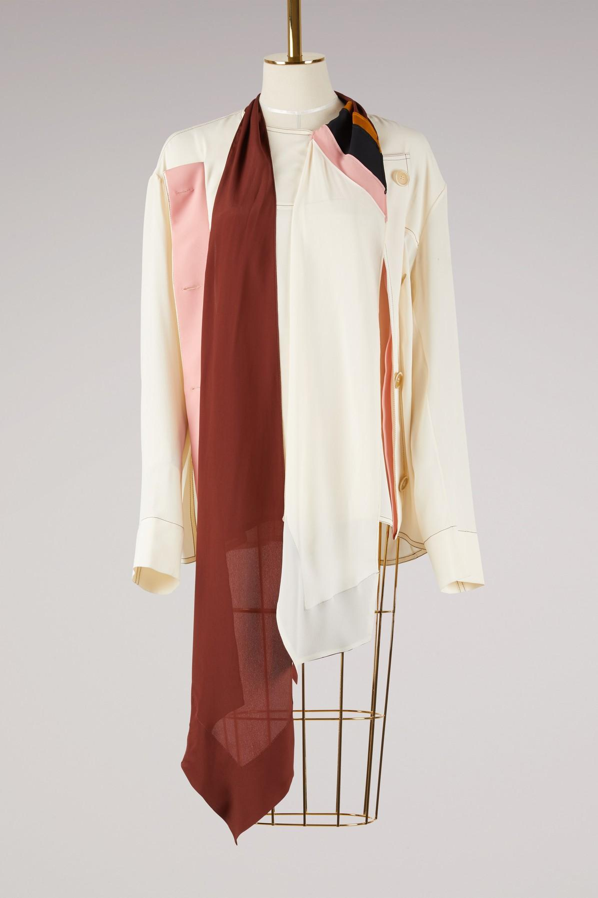 Marni Tie Collar Blouse In Stone White