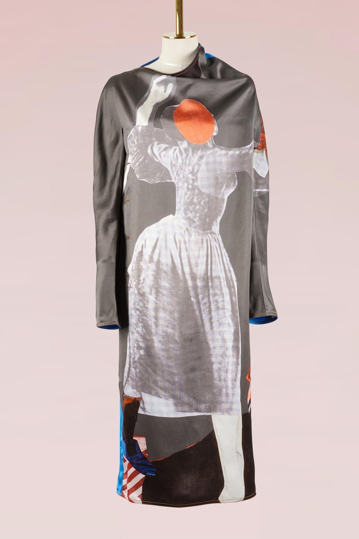 Marni Long Sleeves Printed Dress In Black