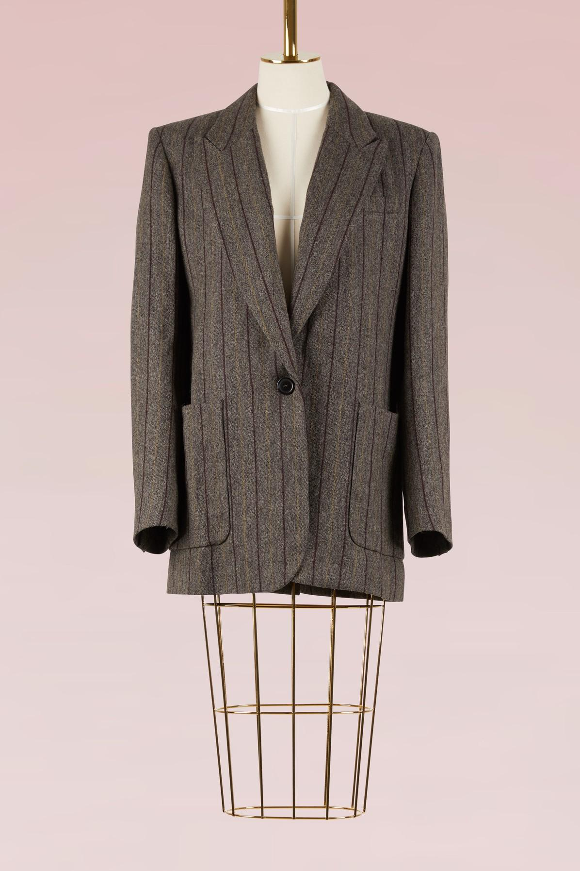 Isabel Marant Linen And Virgin Wool Kern Jacket In Anthracite