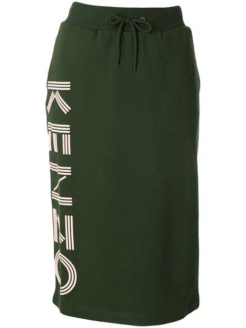 Kenzo Cotton Paris Midi Skirt In Dark Khaki