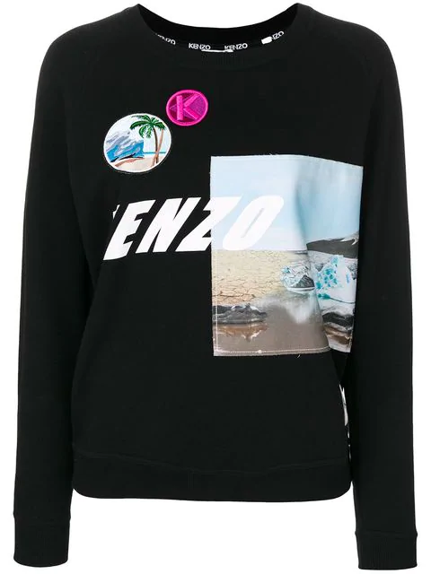 Kenzo Printed Cotton Sweatshirt With Patches In 99 Black