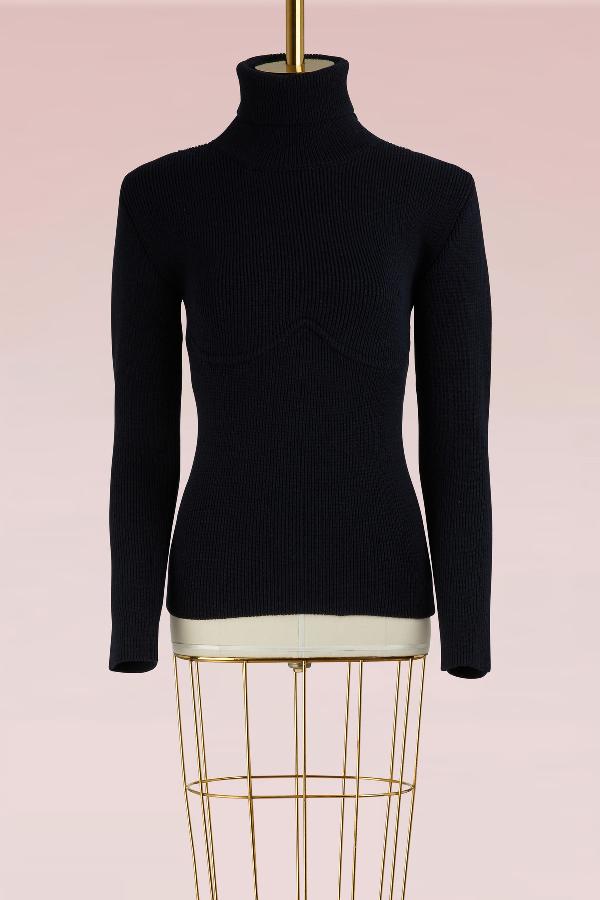 Balenciaga Turtleneck Long-sleeve Ribbed Sweater With Logo Back In Nuit