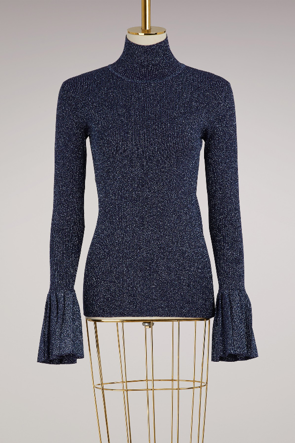 Carven Long Sleeve Jumper With Ruffles In Bleu Astral