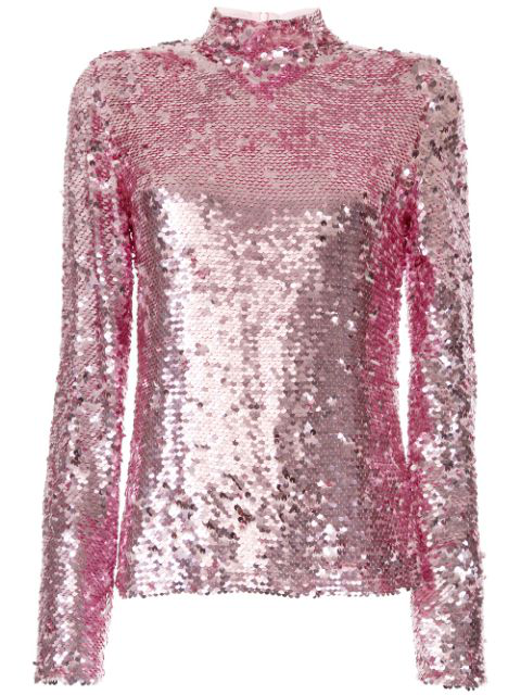Msgm Allover Sequin Top In Pink