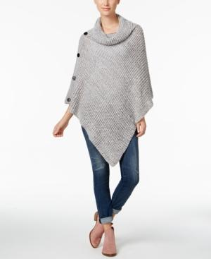 Steve Madden Cowl Neck Waffle Knit Poncho In Gray