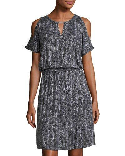 Michael Michael Kors Cold-shoulder Keyhole Dress In Gray