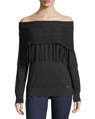 Michael Michael Kors Off-the-shoulder Fringe Sweater In Black