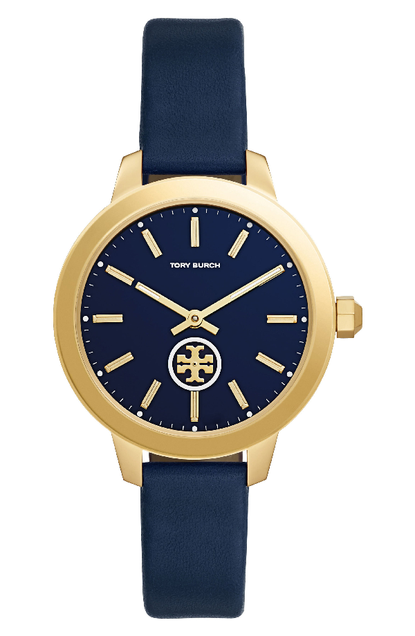 Tory Burch Collins Goldtone Stainless Steel & Leather Strap Watch In Gold/Navy