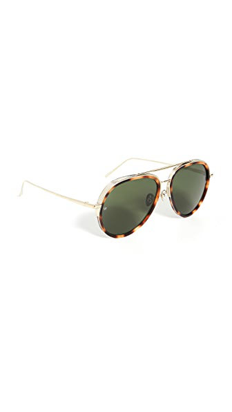 Linda Farrow Luxe Abel Sunglasses In T-shell/light Gold/solid Green