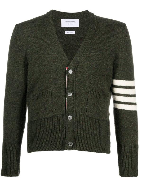 Thom Browne Four Bar Stripe Collar Tricolour Trim Shetland Wool Cardigan In Green