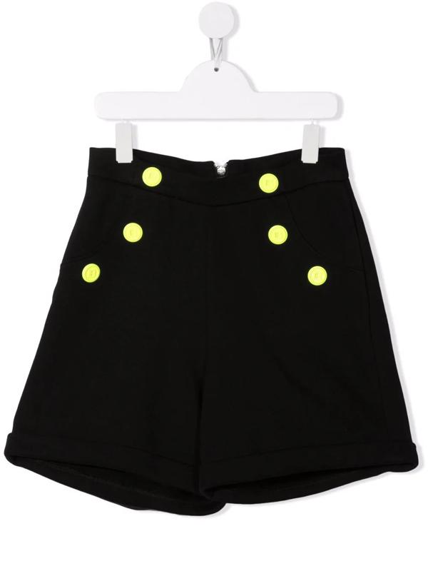 Balmain Teen Logo-button High-waisted Shorts In 黑色