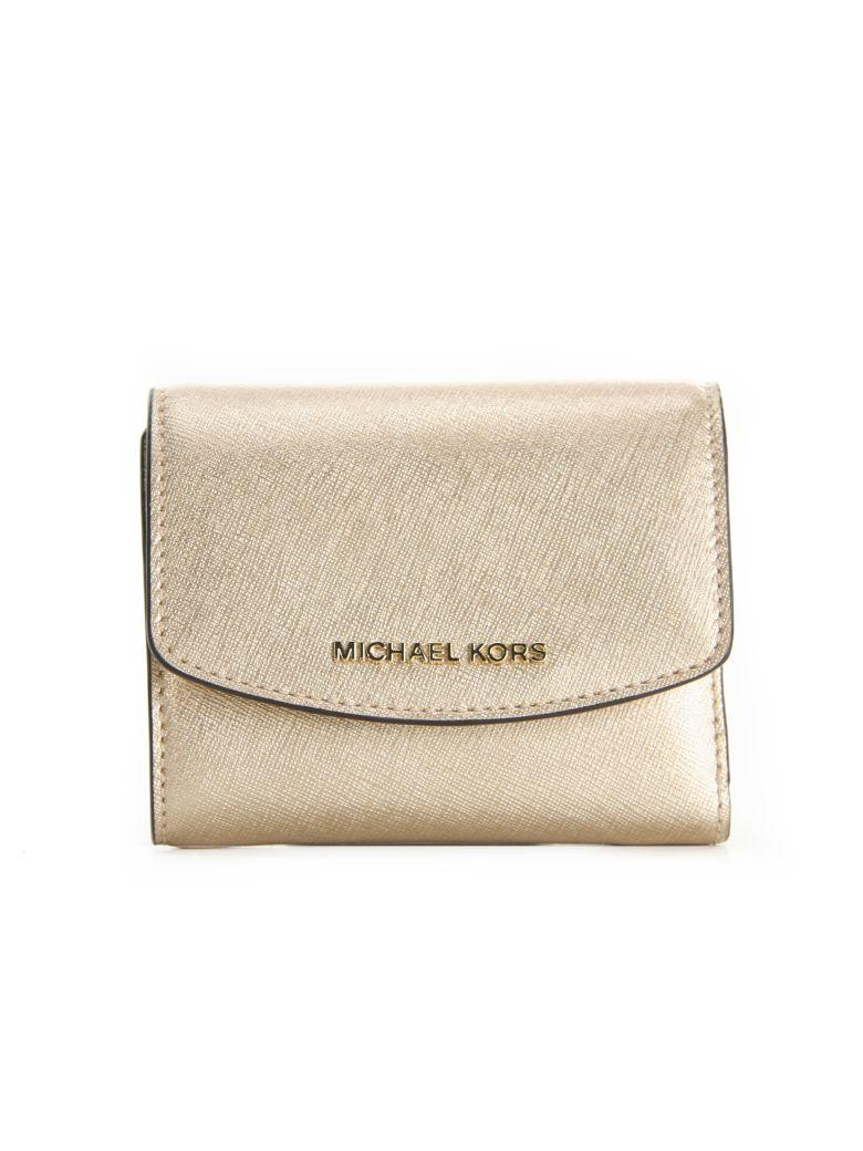 532bc8a41efcc Jet Set Travel Small Trifold Wallet Michael Michael Kors Gold