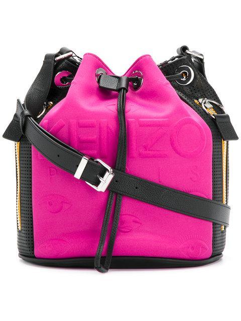 Kenzo Bucket In Fabric And Skin Color Pink In Fuschia
