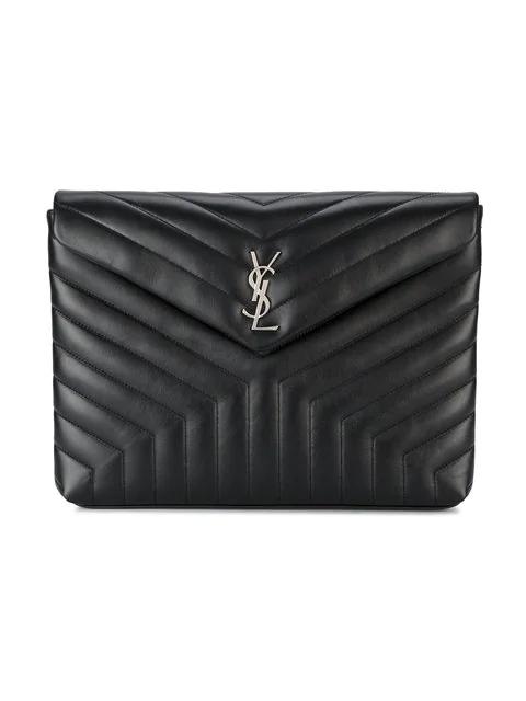 e700e64a4c4df Saint Laurent Large Loulou Matelasse Leather Pouch - Black