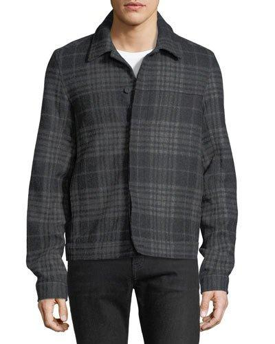 Vince Plaid Trucker Jacket In Charcoal