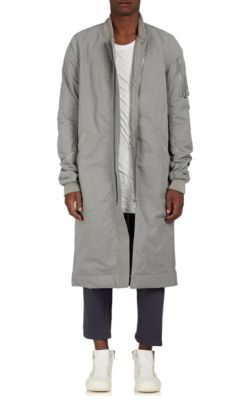Rick Owens Drkshdw Cotton-Blend Insulated Long Bomber Jacket In Gray