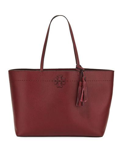 ab7f01c90225 Tory Burch Mcgraw Pebbled Leather Tote Bag In Imperial Garnet