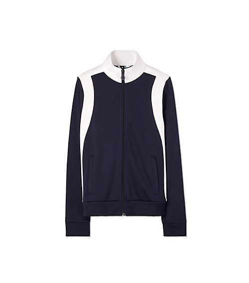 Tory Sport Striped Stretch-jersey Track Jacket In Navy