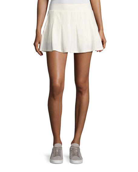 Tory Sport Pleated Jersey Mini Skirt In Navy